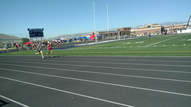Arianne Brow's son Ace runs the 1500 meter at the Jr. Olympics State Meet. (Deseret Photo)