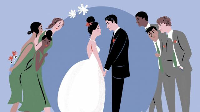 A growing number of couples are opting to not have bridesmaids and groomsmen. They want to spare friends and family the hassle and expense. (Libby VanderPloeg/The New York Times) -- NO SALES; FOR EDITORIAL USE ONLY WITH NYT STORY WEDDING PARTY OMIT ADV11 BY LAUREN SLOSS FOR FEB. 11, 2018. ALL OTHER USE PROHIBITED..