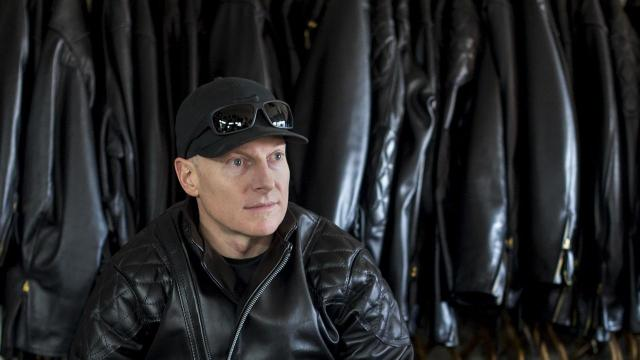 Chris Page with his new jacket at Langlitz Leathers in Portland, Ore., Nov. 9, 2018. Langlitz jackets are still made by hand and sold exactly the same way they were when the company was founded by Ross Langlitz in 1947. (Amanda Lucier/The New York Times)