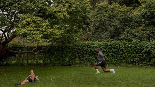 "Jovan Adepo does lunges while working out in Central Park, New York, Oct, 7, 2018. Adepo, who stars in ""Overlord"" and ""Tom Clancy's Jack Ryan,"" played football in college. But he takes workout advice from peers. (Hilary Swift/The New York Times)"