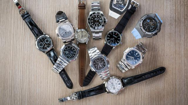 A watch pile, for social media photos, during a cruise off Singapore on Aug. 25, 2018. The cruise was a celebration of #PatekAcademy, a new Instagram affinity group that had 2,655 followers a little more than two months later. (Edwin Koo/The New York Times)
