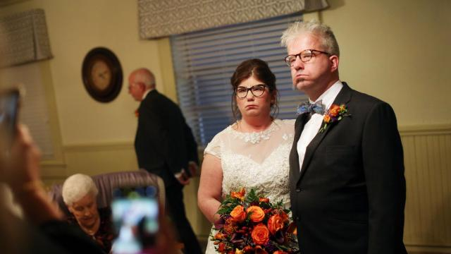 The wedding of Erin Smith and Alex Barker, at the Second Presbyterian Church in Lexington, N.C., Nov. 10, 2018. Both have Moebius syndrome, a rare neurological disorder that causes facial paralysis; They had met only a handful of others with the disorder until Tim Smith, created a Facebook community for the afflicted in 2013. (Travis DoveThe New York Times)