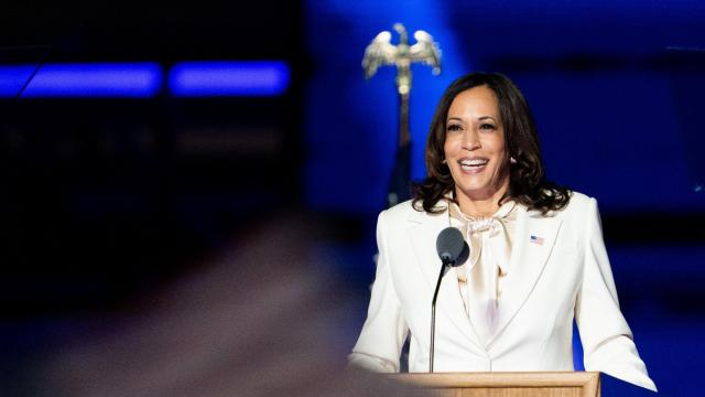 Vice President-elect Kamala Harris speaks in Wilmington, Del., Nov. 7, 2020. When Kamala Harris stepped onto the stage and into history at the Chase Center in Wilmington, Del., as Vice President-elect of the United States, she did so in full recognition of the weight of the moment, and in full acknowledgment of all who came before. (Erin Schaff/The New York Times)