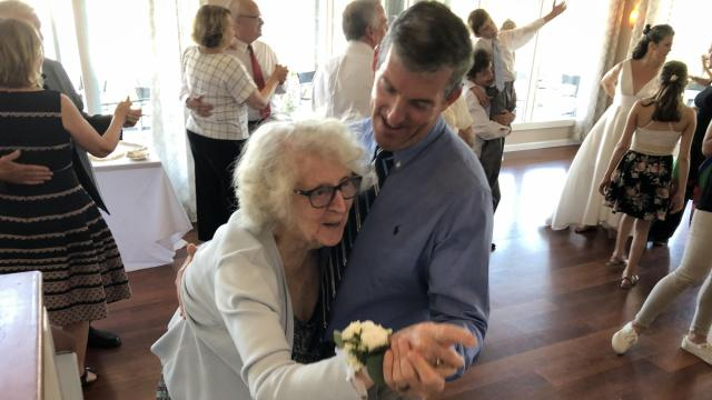 Sean Rochleau, 50, takes his mother, Virginia, 89, for a dance on the occasion of sister Anne's wedding
