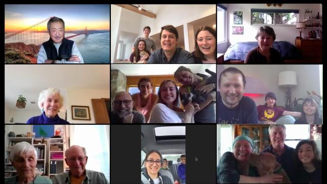 Peter Rumsey and Barbara Wishy use Zoom to connect with family