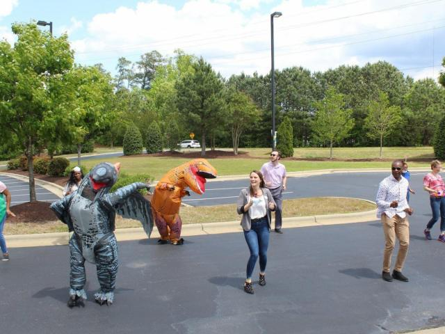 Apex mayor dancing for residents at Cambridge VIllage in Apex
