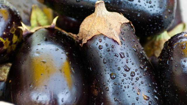 Locally grown eggplant for sale during the Midtown Farmers Market at North Hills in Raleigh on August 6, 2011.