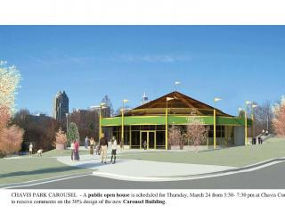 Design of the new carousel building with Raleigh skyline in background and Chavis pool to the left of the carousel building.