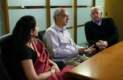 Dr. Arun Sethi, center, is interviewed in Salt Lake City, Wednesday, May 11, 2016. At left is his wife, Dr. Reena Sethi. At right is Dr. E. William Jackson. (Deseret Photo)