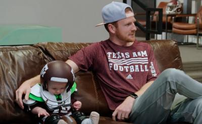 Garrett Hilbert is shown with his son, Owen, in Dude Perfect's latest video. (Deseret Photo)