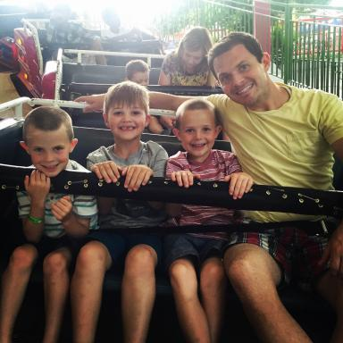 Lagoon rides with Carmen Rasmusen Herbert's boys, nephew and husband. (Deseret Photo)