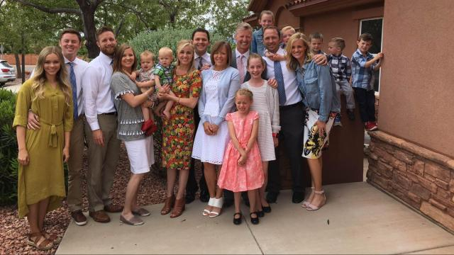 The Rasmusen family gathers in St. George with Carmen Rasmusen Herbert's mom and dad. (Deseret Photo)