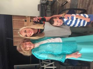 """June Davidson, who recently turned 100, Carmen Rasmusen Herbert and Carmen's son, Beckham, on the set of """"Good Things Utah."""" (Deseret Photo)"""