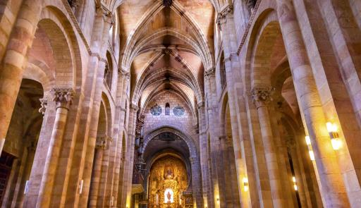 Basilica Arches Columns Statue Cathedral Avila Castile Spain  Gothic church built in the 1100s.  Avila is a an ancient walled medieval city in Spain. (Deseret Photo)
