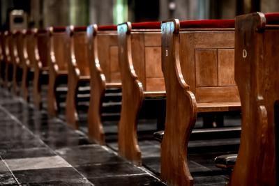 Wooden pews in a row in a church (Deseret Photo)