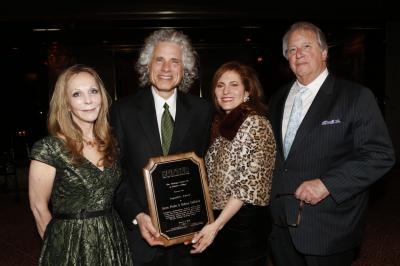From left, guests of honor Rebecca Goldstein, novelist and philosopher; and Steven Pinker, psychologist and linguist, celebrate the fourth anniversary of the Writing Center at Hunter College with Hunter College president Jennifer J. Raab and Writing Center director Lewis  B. Frumkes at the Doubles club at the Sherry-Netherland Hotel, Wednesday, March 5, 2014, in New York. (Deseret Photo)