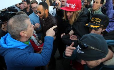 Anti-Trump protesters clash with pro-Trump supporters at a rally outside the Infinity Events Center in Salt Lake City, where Republican candidate for president Donald Trump was making a speech, Friday, March 18, 2016. (Deseret Photo)