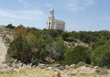 The view of the Cedar City Utah Temple as it is being constructed near Arianne Brown's parents home. (Deseret Photo)