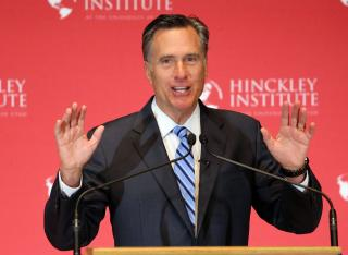 Former Gov. of Mass. Mitt Romney addresses the Hinckley Institute of Politics regarding the 2016 presidential race at the University of Utah in Salt Lake City on Thursday, March 3, 2016. (Deseret Photo)