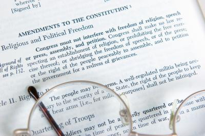 The First Amendment to the Constitution is shown on the page of a history book. (Deseret Photo)