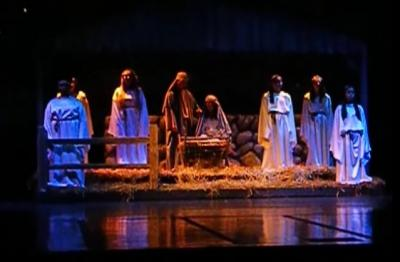 "An image of the live nativity in Concord High School's 2014 ""Christmas Spectacular"" (YouTube) (Deseret Photo)"