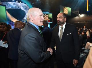 Terry Bradshaw, left, and Franco Harris pose in the audience at the fifth annual NFL Honors at the Bill Graham Civic Auditorium on Saturday, Feb. 6, 2016, in San Francisco. (Deseret Photo)