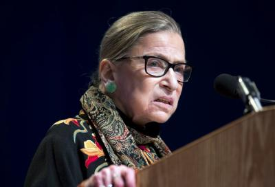 "FILE - In this Jan. 28, 2016 file photo, Supreme Court Justice Ruth Bader Ginsburg speaks at Brandeis University in Waltham, Mass. Ginsburg is calling the protests of football players who decline to stand for the national anthem ""dumb and disrespectful."" 