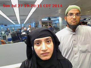 FILE - In this July 27, 2014 file photo provided by U.S. Customs and Border Protection shows Tashfeen Malik, left, and her husband, Syed Farook, at O'Hare International Airport in Chicago. For a crisis counselor who lost a loved one in the San Bernardino terrorist attack, the last six months have been a journey on the other side of crisis. Mandy Pifer's boyfriend, Shannon Johnson, was one of the 14 people killed in the December 2015 mass shooting by Malik and Farook. (U.S. Customs and Border Protection via AP, File) (Deseret Photo)