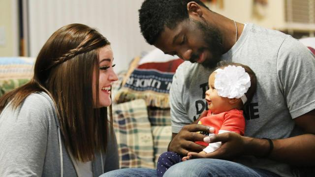 Talisa and Tevin Caddle talk to their daughter Jordyn Tuesday, Nov. 10, 2015. (Deseret Photo)