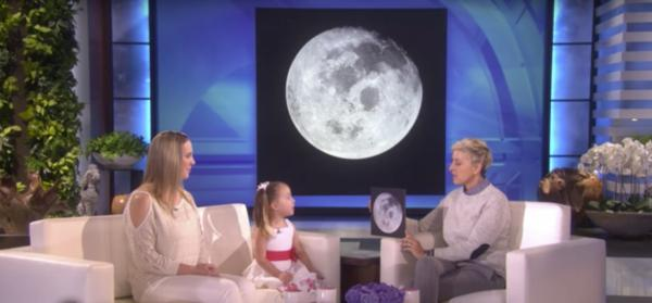 Brielle tells Ellen about the moon. (Deseret Photo)