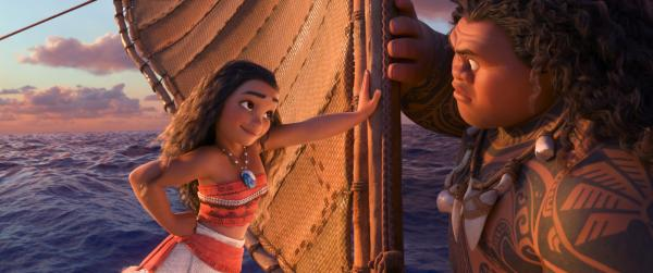 "Tenacious teenager Moana (voice of Auliʻi Cravalho) recruits a demigod named Maui (voice of Dwayne Johnson) to help her become a master wayfinder in Disney's ""Moana."" (Deseret Photo)"
