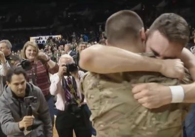 Notre Dame basketball player Matt Farrell's brother returned from Afghanistan to surprise him on Monday night. (Deseret Photo)