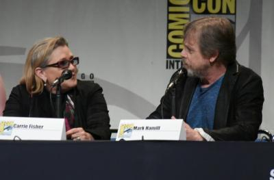 "Carrie Fisher, left, and Mark Hamill attend Lucasfilm's ""Star Wars: The Force Awakens"" panel on day 2 of Comic-Con International on Friday, July 10, 2015, in San Diego, Calif. (Photo by Richard Shotwell/Invision/AP) (Deseret Photo)"