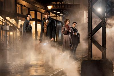 """Katherine Waterston as Tina, Eddie Redmayne as Newt Scamander, Alison Sudol as Queenie and Dan Fogler as Jacob in Warner Bros. Pictures' """"Fantastic Beasts and Where to Find Them."""" (Deseret Photo)"""