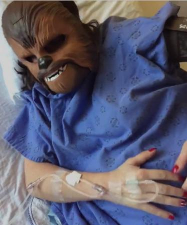 Katie Stricker Curtis posted a video on Facebook this week of herself wearing a Chewbacca mask during labor. (Deseret Photo)