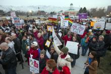 Supporters of equal marriage rights gather for a rally Tuesday, Jan. 28, 2014, on the front steps of the Utah State Capitol. (Deseret Photo)