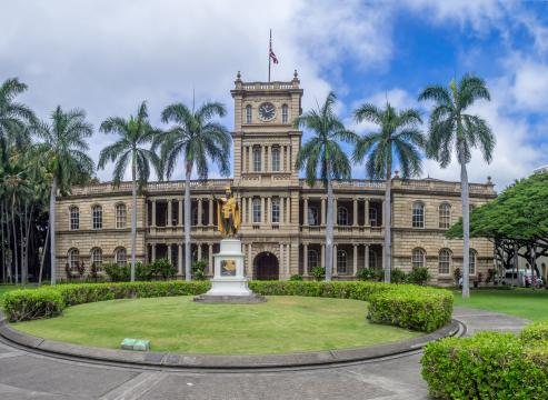 The King Kamehameha statue in front of the Hawaii Supreme Court in Honolulu, Hawaii. (Deseret Photo)