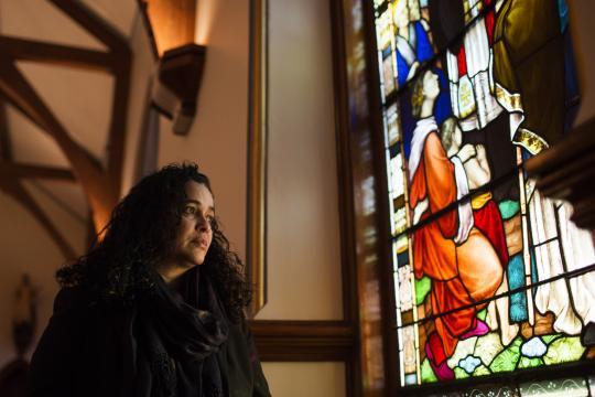 Raisa Carrasco-Velez, director of Multicultural Affairs & Community Development at St. John's Preparatory School, poses for a portrait in the school's chapel in Danvers, Massachusetts on March 13, 2017. (Deseret Photo)
