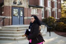 Raisa Carrasco-Velez, director of Multicultural Affairs & Community Development at St. John's Preparatory School, walks through the school's campus in Danvers, Massachusetts on March 13, 2017. (Deseret Photo)
