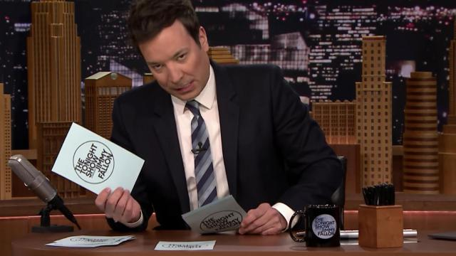 "Jimmy Fallon rolls his eyes at a corny dad joke on Thursday's episode of ""The Tonight Show"" (Deseret Photo)"