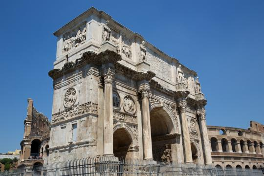 The Arch of Constantine celebrates victory at the battle of Milvian Bridge over his pagan rival Maxentius. (Deseret Photo)