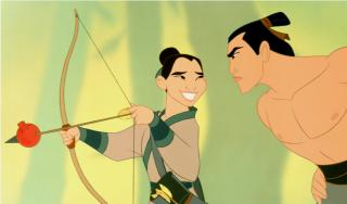 Captain Li Shang shows Mulan how to shoot an arrow in MULAN