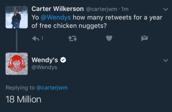 Wendy's has a challenge for one Nevada teen: Get 18 million retweets and he gets free chicken nuggets for a year. (Deseret Photo)