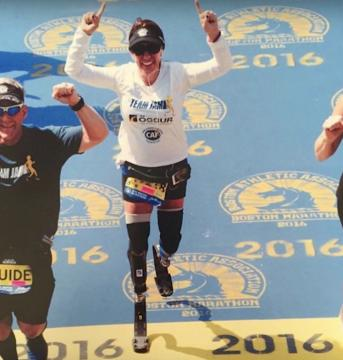 Double amputee Jami Marseilles completes the Boston Marathon. (Deseret Photo)