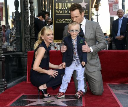 Actor Chris Pratt, right, is joined by his wife, actress Anna Faris, and their son Jack during a ceremony to award Pratt a star on the Hollywood Walk of Fame on Friday, April 21, 2017, in Los Angeles. (Photo by Chris Pizzello/Invision/AP) (Deseret Photo)