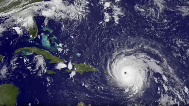 In this GOES-13 satellite image taken Wednesday, Sept. 6, 2017 at 7:15 a.m. EDT, and released by NASA/NOAA GOES Project, Hurricane Irma tracks over Saint Martin and the Leeward Islands. Hurricane Irma roared into the Caribbean with record force early Wednesday, its 185-mph winds shaking homes and flooding buildings on a chain of small islands along a path toward Puerto Rico, Cuba and Hispaniola and a possible direct hit on densely populated South Florida.  (NASA/NOAA GOES Project via AP) (Deseret Photo)