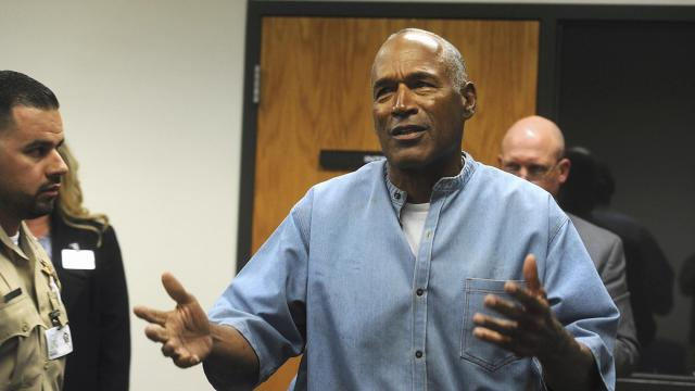 Former NFL football star O.J. Simpson reacts after learning he was granted parole at the Lovelock Correctional Center in Lovelock, Nev., on Thursday, July 20, 2017. Simpson was granted parole Thursday after more than eight years in prison for a Las Vegas hotel heist, successfully making his case in a nationally televised hearing that reflected America's enduring fascination with the former football star. (Jason Bean/The Reno Gazette-Journal via AP, Pool) (Deseret Photo)