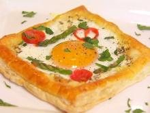 Goat cheese and egg puff pastries