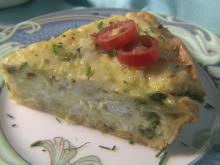 Crab quiche with asparagus
