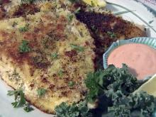 Pecan- and panko-crusted flounder
